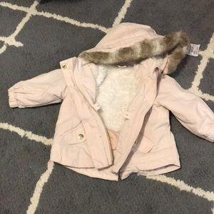 Soft pink 4-6 month h&m winter jacket